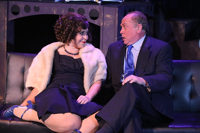 Kent Coffel (right) as the Senator and Sara Rae Womack as his mistress,  in SWEET SMELL OF SUCCESS, New Line Theatre, 2017. Photo credit: Jill Ritter Lindberg.