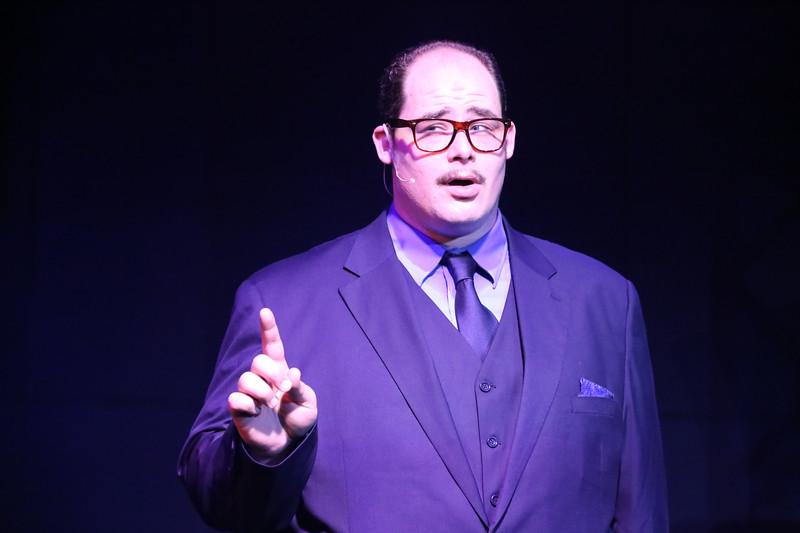 Zachary Allen Farmer as J.J. Hunsecker, in SWEET SMELL OF SUCCESS, New Line Theatre, 2017. Photo credit: Jill Ritter Lindberg.
