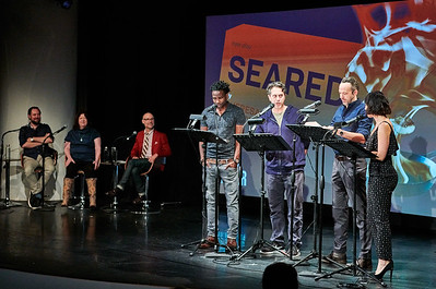 Sept.9,  2019 - New York, NY   The Guggenheim Works and Process series presents MCC Theater: Seared by Theresa Rebeck with Moritz von Stuelpnagel  Playwright Theresa Rebeck (Bernhardt/Hamlet) and director Moritz von Stuelpnagel (Hand to God) take audiences into the kitchen of their fit-for-foodies comedy as cast members perform highlights.  Actors- W. Tre Davis David Mason 'Krysta Rodriguez Thomas Sadowski  Moderator- Will Cantler  Chef Consultant- Ben Liquet  Photographer- Robert Altman Post-production- Robert Altman