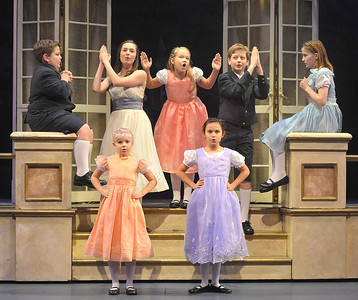 The von Trapp children say goodnight in Olney Theatre Center's production of THE SOUND OF MUSIC. (Photo Credit: Stan Barouh)