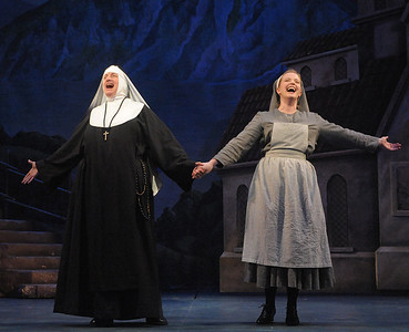 The Mother Abbess (Channez McQuay) and Maria (Jessica Lauren Ball) sing about their favorite things in Olney Theatre Center's production of THE SOUND OF MUSIC. (Photo Credit: Stan Barouh)
