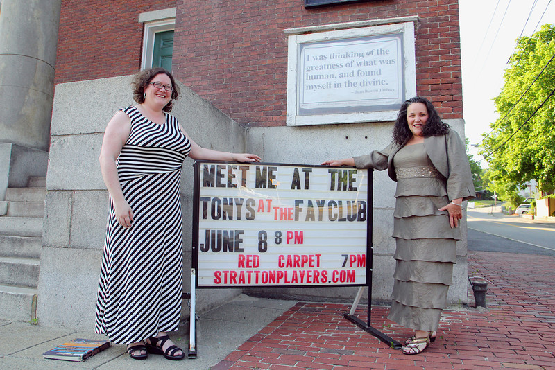 "The Stratton Players will be holding a fund raiser on Sunday at the Fay Club ""Meet at the Tony's"" in Fitchburg. Co-producers of the event Jenny Leung and Nancy Lemont got all dressed up to promote the event on Tuesday afternoon. SENTINEL & ENTERPRISE/JOHN LOVE"