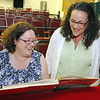 "The Stratton Players will be holding a fund raiser on Sunday at the Fay Club ""Meet at the Tony's"" in Fitchburg. Co-producers of the event Jenny Leung and Nancy Lemont practice a little song for the event on Sunday.  SENTINEL & ENTERPRISE/JOHN LOVE"