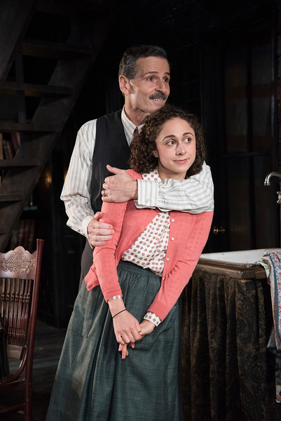Carolyn Faye Kramer as Anne Frank and Paul Morella as Otto Frank in Olney Theatre Center's production of THE DIARY OF ANNE FRANK. (Photo: Stan Barouh)