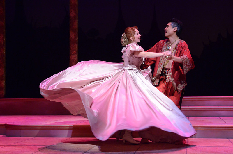 Shall We Dance? Paolo Montalban (as The King) and Eileen Ward (as Anna) in Olney Theatre Center's production of THE KING AND I. (Photo: Stan Barouh)