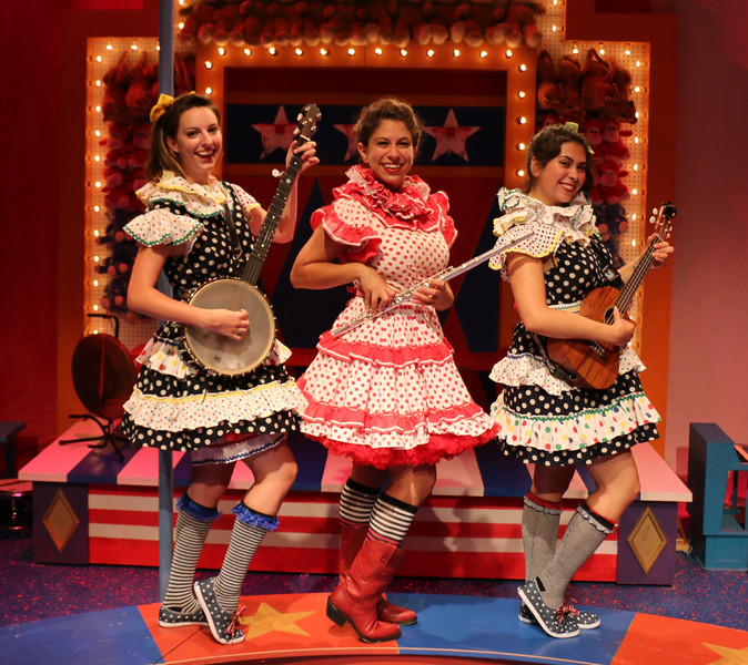 Lauren Vogel (Pitti-Sing), Dana Omar (Yum-Yum), and Amanda Raquel Martinez (Peep-Bo) in The Hypocrites' THE MIKADO at Olney Theatre Center. (Photo: Anna Danisha Crosby)