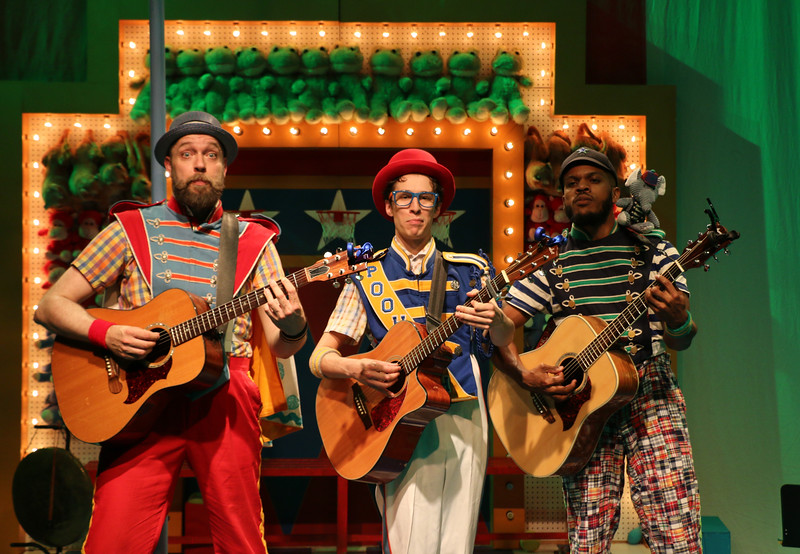 Matt Kahler (Ko-Ko), Mario Aivazian (Pooh-Bah), and Brian Keys (Pish-Tush) in The Hypocrites' THE MIKADO at Olney Theatre Center. (Photo: Anna Danisha Crosby)
