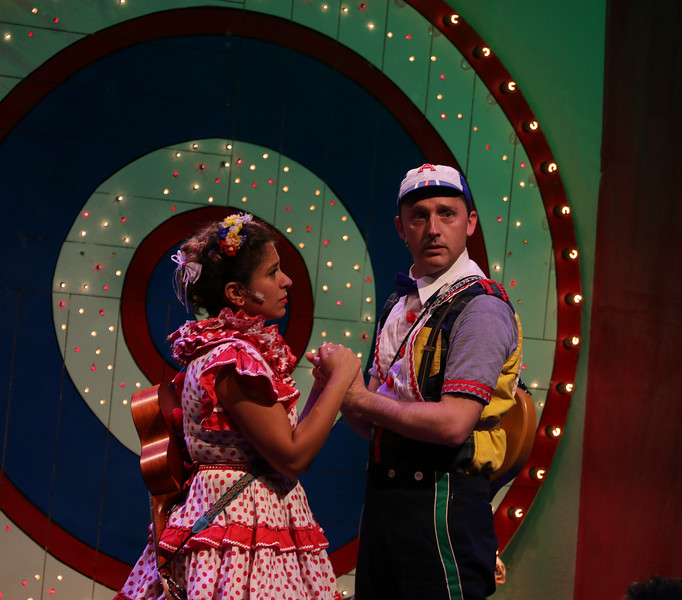Dana Omar (Yum-Yum) and Shawn Pfautsch (Andy-Poo) in The Hypocrites' THE MIKADO at Olney Theatre Center. (Photo: Anna Danisha Crosby)