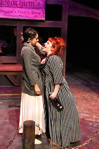 (l-r) Polly Peachum (Cherlynn Alvarez) and Mrs. Peachum (Sarah Porter) have a mother-daughter moment, in New Line Theatre's THREEPENNY OPERA, 2015. Photo credit: Jill Ritter Lindberg.
