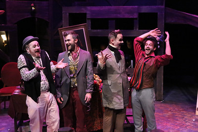 "Mack's gang -- (l-r) Crookfinger Jake (Kent Coffel), Bob the Saw (Luke Steingruby), Readymoney Matt (Brian Claussen), and Walt Dreary (Todd Micali), singing the ""Wedding Song,"" in New Line Theatre's THREEPENNY OPERA, 2015. Photo credit: Jill Ritter Lindberg."