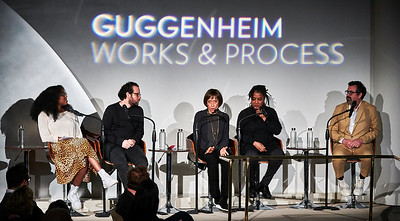 April 22, 2019 - New York, NY -   The Guggenheim Museum's Works and Process series presents the Atlantic Theater Company's production of The Secret Life of Bees by Lynn Nottage, Duncan Sheik, and Susan Birkenhead  Prior to the world premiere, two-time Pulitzer Prize–winning writer Lynn Nottage (Sweat), Tony and Grammy Award–winning composer Duncan Sheik (Spring Awakening), two-time Tony–nominee and Drama Desk–winning lyricist Susan Birkenhead (Jelly's Last Jam), and Tony-winning director Sam Gold (Fun Home) discuss their collaboration and creative process of turning Sue Monk Kidd's best-selling novel into a musical.  Performers- Brett Gray LaChanze Elizabeth Teeter  © Robert Altman  Photographer- Robert Altman Post-production- Robert Altman