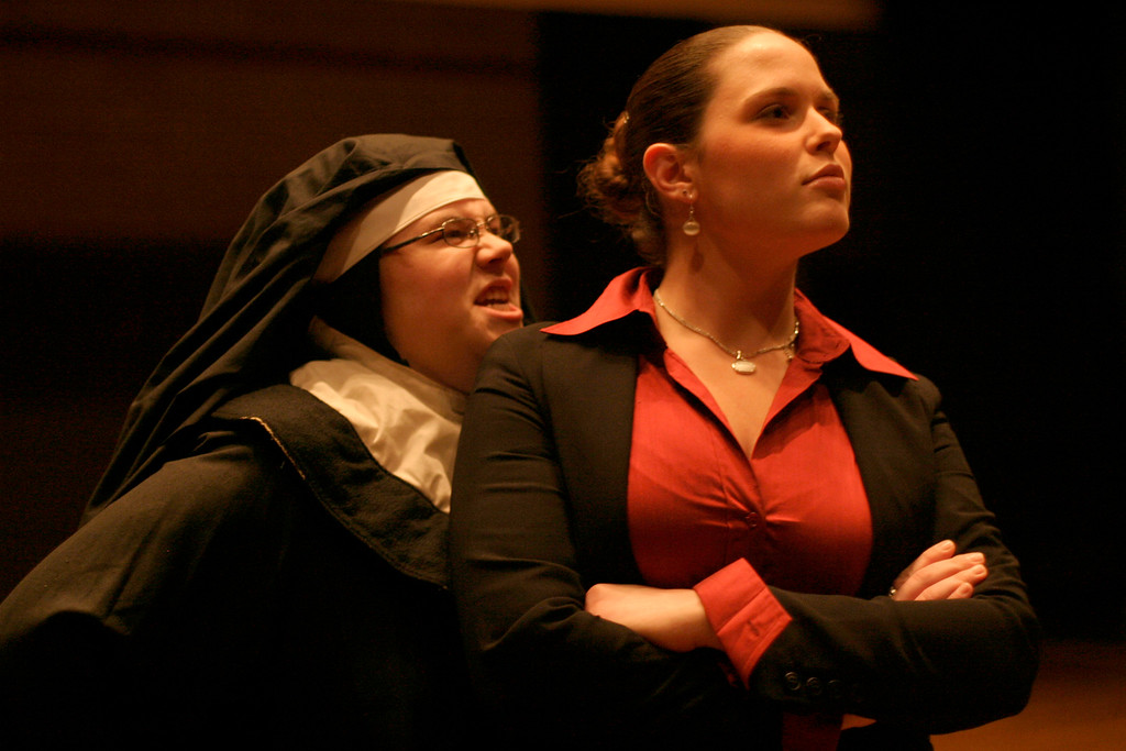 Rockland Community College students, Christina Schaudel of Pearl River (left), and Cassandra King of Suffern, rehearse their performance of Agnes of God at Rockland Community College on Nov. 2, 2006. The performance dates are Nov. 16-18, 2006 at 8 pm at Rockland Community College. <br /> (Susan Magnano for The Journal News)