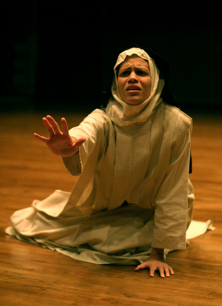 Rockland Community College student, Elizabeth Mangual of Garnerville rehearses her role as Agnes, in Rockland Community College's presentation of Agnes of God at Rockland Community College on Nov. 2, 2006. The performance dates are Nov. 16-18, 2006 at 8 pm at Rockland Community College. <br /> (Susan Magnano for The Journal News)