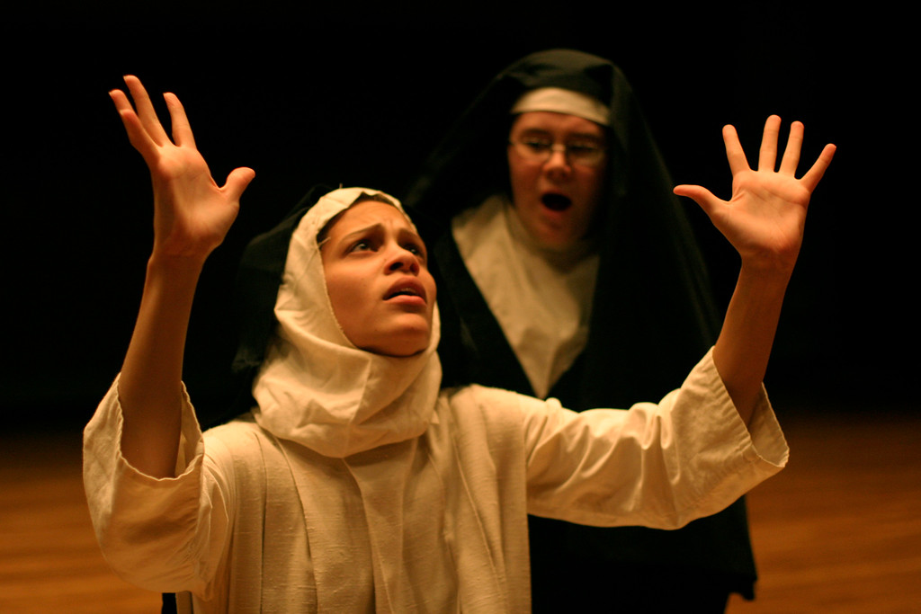 Rockland Community College students, Elizabeth Mangual of Garnerville (Front) and Christina Schaudel of Pearl River, rehearse their performance of Agnes of God at Rockland Community College on Nov. 2, 2006. The performance dates are Nov. 16-18, 2006 at 8 pm at Rockland Community College. <br /> (Susan Magnano for The Journal News)