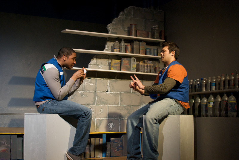Sentell Harper (Tommy) and Derek Garza (Ebenn) in Mortar Theatre Company's I AM MONTANA  <br /> <br /> April 7 - May 1, 2011  <br /> <br /> Director: Rachel Edwards Harvith <br /> Scenic & Costume Design: Robert S. Kuhn <br /> Lighting Design: Justin Wardell