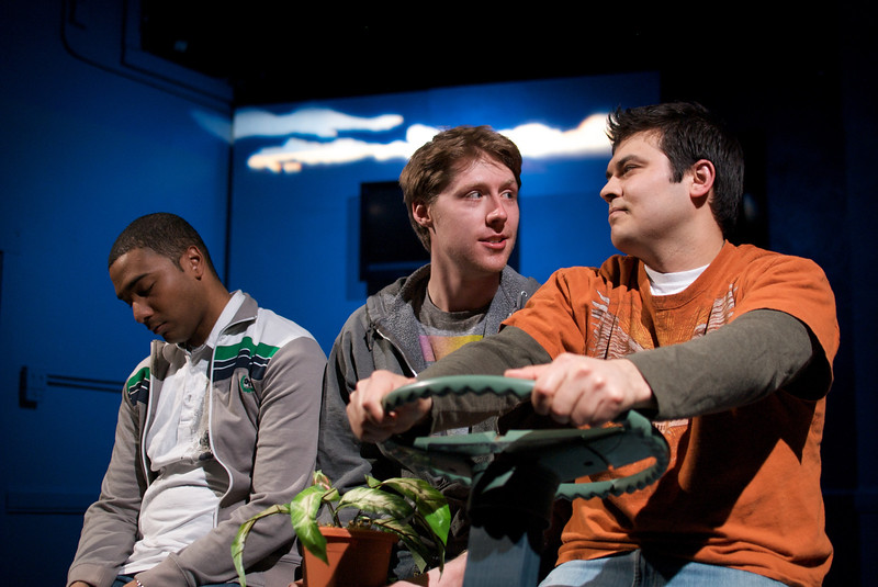 Sentell Harper (Tommy), Josh Nordmark (Dirk), and Derek Garza (Ebenn) in Mortar Theatre Company's I AM MONTANA  <br /> <br /> April 7 - May 1, 2011  <br /> <br /> Director: Rachel Edwards Harvith <br /> Scenic & Costume Design: Robert S. Kuhn <br /> Lighting Design: Justin Wardell