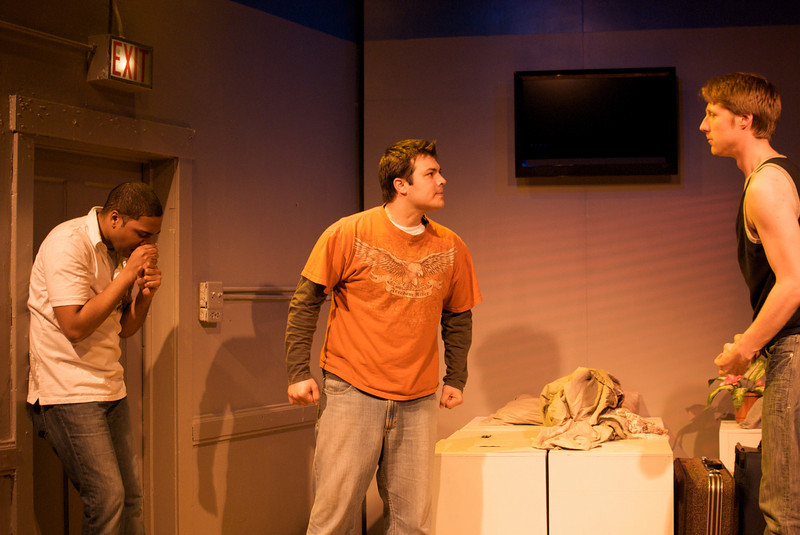 Sentell Harper (Tommy), Derek Garza (Ebenn), and Josh Nordmark (Dirk) in Mortar Theatre Company's I AM MONTANA  <br /> <br /> April 7 - May 1, 2011  <br /> <br /> Director: Rachel Edwards Harvith <br /> Scenic & Costume Design: Robert S. Kuhn <br /> Lighting Design: Justin Wardell