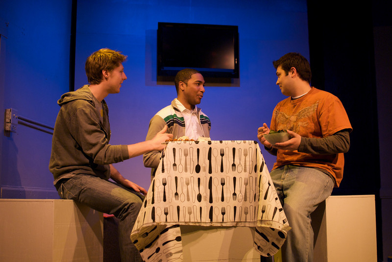 Josh Nordmark (Dirk), Sentell Harper (Tommy), and Derek Garza (Ebenn) in Mortar Theatre Company's I AM MONTANA  <br /> <br /> April 7 - May 1, 2011  <br /> <br /> Director: Rachel Edwards Harvith <br /> Scenic & Costume Design: Robert S. Kuhn <br /> Lighting Design: Justin Wardell