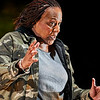 January 5, 2018 - New York, NY  Dress rehearsal of Until the Flood, NY premiere of a new solo show written and performed by Dael Orlandersmith at the Rattlestick Playwrights Theater. <br /> <br /> Directed by Neel Keller<br /> Set Design - Takeshi Kata<br /> Lighting Design - Mary Louise Geiger<br /> Costume Design - Kaye Voyce<br /> Sound Design - Justin Ellington<br /> Projection Design - Nick Hussong<br /> <br /> Photo Credit-  Robert Altman for Rattlestick<br /> Photographer- Robert Altman