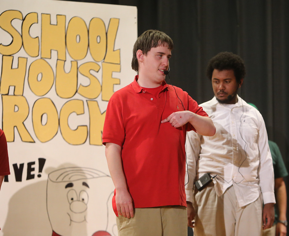 . Lucas Costain of Wilmington, front, and Marcus Mengistab of Billerica, rear. Valley Collaborative Transitional High School students perform School House Rock Live! Jr. musical. (SUN/Julia Malakie)