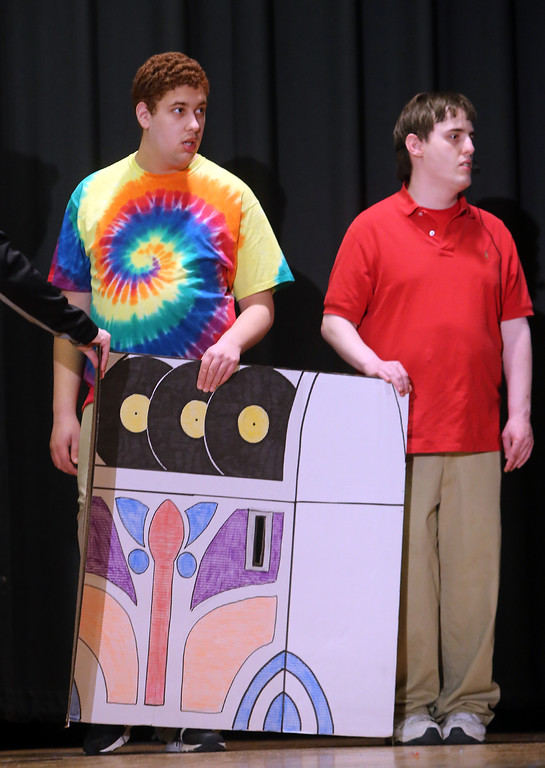 . Alex Najarian of Pelham, N.H., left, and Lucas Costain of Wilmington, right. Valley Collaborative Transitional High School students perform School House Rock Live! Jr. musical. (SUN/Julia Malakie)