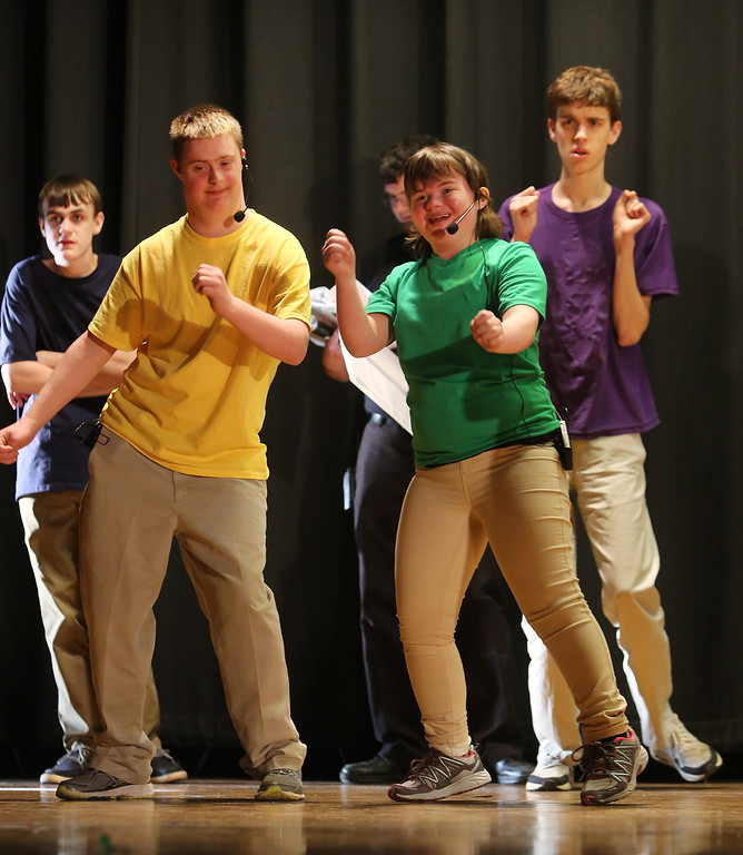 . Front: Jack Saba of Chelmsford, and Mary Alice Jackson of Chelmford. Rear: Andrew Blais, left, and Nate Steigerwald, right, both of Westford. Valley Collaborative Transitional High School students perform School House Rock Live! Jr. musical. (SUN/Julia Malakie)