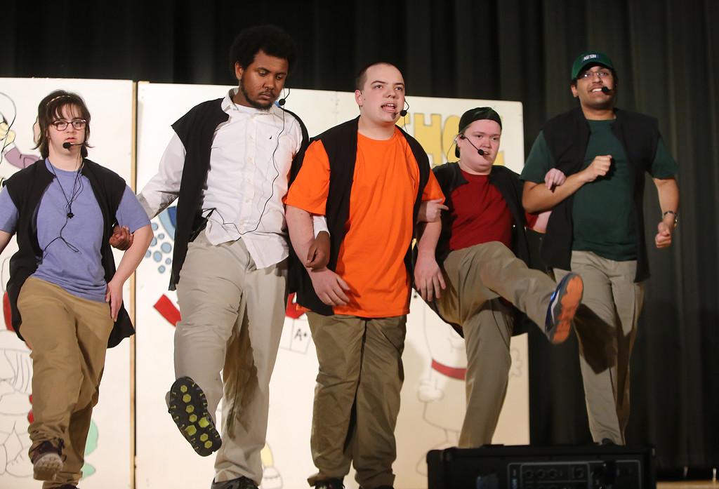 . From left, Julia Lesnik of Wilmington, Marcus Mengistab of Billerica, Justin Goyette of Tyngsboro, Joseph Distefano of Lynnfield, and Arun Maudgal of Westford. Valley Collaborative Transitional High School students perform School House Rock Live! Jr. musical. (SUN/Julia Malakie)