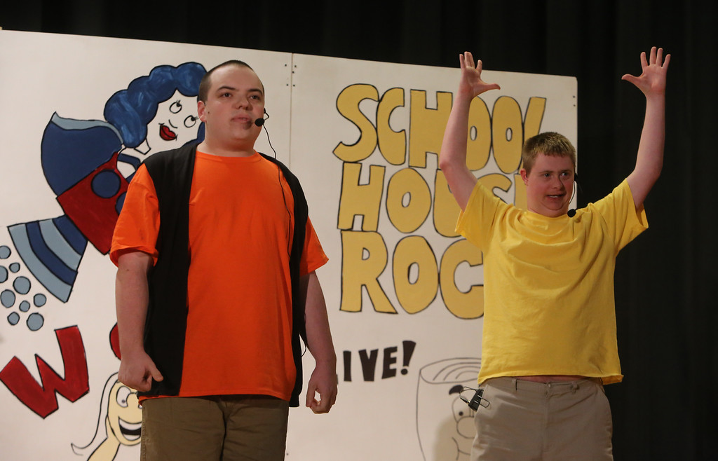 . Justin Goyette of Tyngsboro, right, and Jack Saba of Chelmsford. Valley Collaborative Transitional High School students perform School House Rock Live! Jr. musical. (SUN/Julia Malakie)