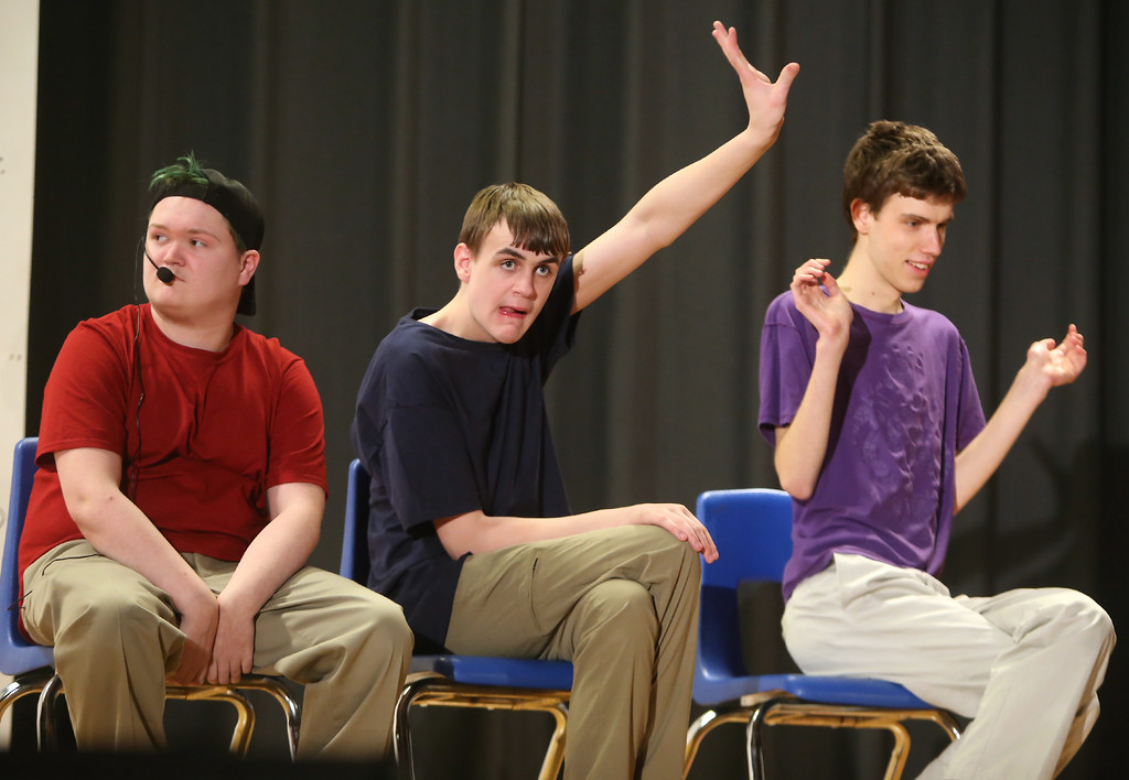 . From left, Joseph Distefano of Lynnfield, and Andrew Blais and and Nate Steigerwald of Westford. Valley Collaborative Transitional High School students perform School House Rock Live! Jr. musical. (SUN/Julia Malakie)