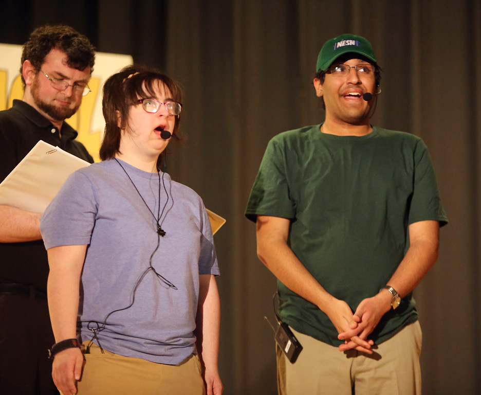 . Julia Lesnik of Wilmington, left, and Arun Maudgal of Westford, right. Valley Collaborative Transitional High School students perform School House Rock Live! Jr. musical. (SUN/Julia Malakie)