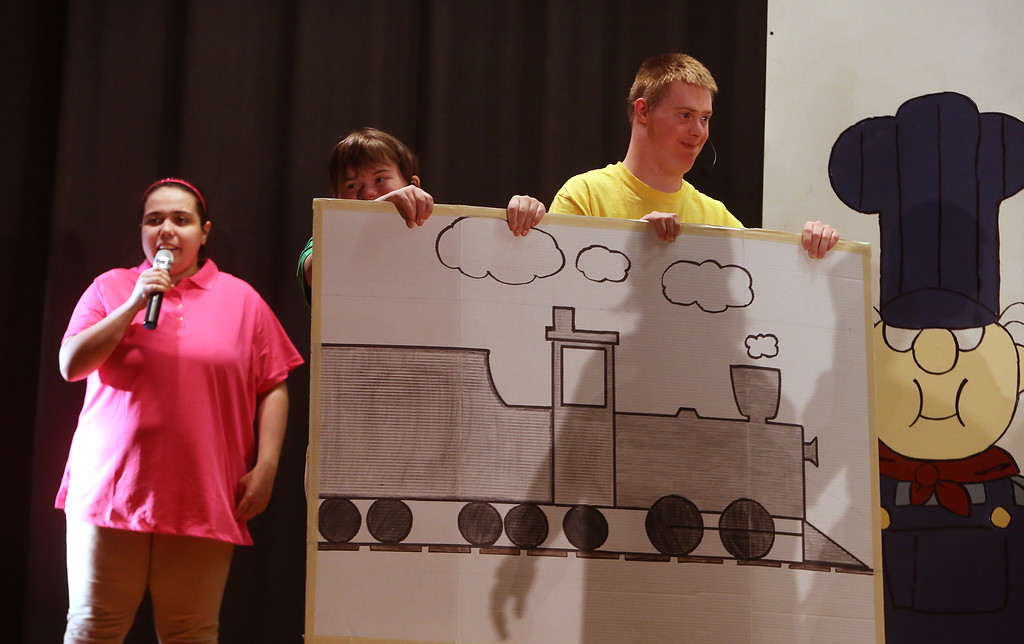 . From left, Monica Bruni of Dracut, Mary Alice Jackson of Chelmsford, and Jack Saba of Chelmsford. Valley Collaborative Transitional High School students perform School House Rock Live! Jr. musical. (SUN/Julia Malakie)