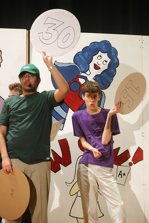 . Arun Maudgal, left, and Nate Steigerwald, both of Westford. Valley Collaborative Transitional High School students perform School House Rock Live! Jr. musical. (SUN/Julia Malakie)