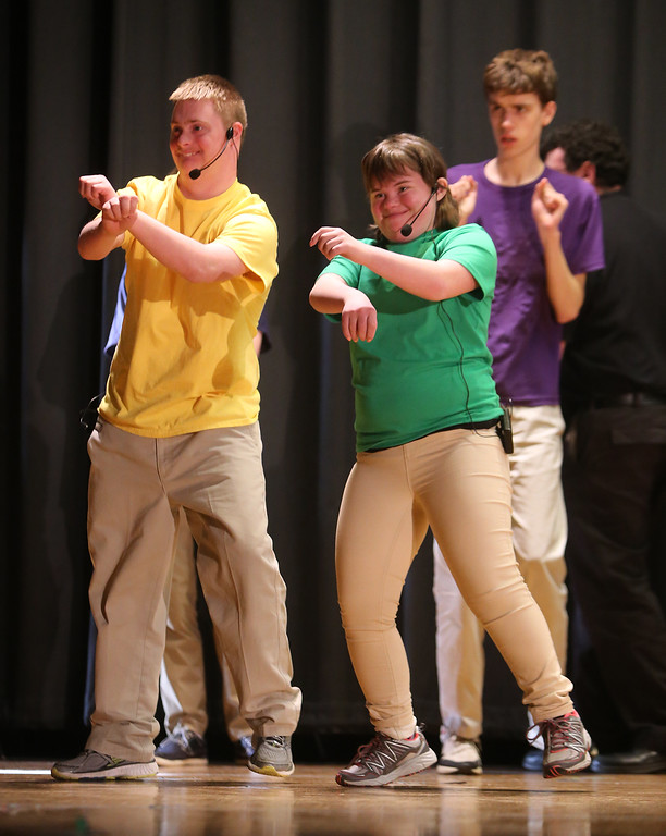 . Jack Saba of Chelmsford, Mary Alice Jackson of Chelmford, and Nate Steigerwald of Westford, rear. Valley Collaborative Transitional High School students perform School House Rock Live! Jr. musical. (SUN/Julia Malakie)