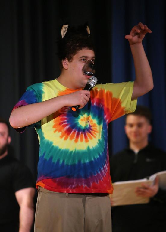 . Alex Najarian of Pelham, N.H. Valley Collaborative Transitional High School students perform School House Rock Live! Jr. musical. (SUN/Julia Malakie)