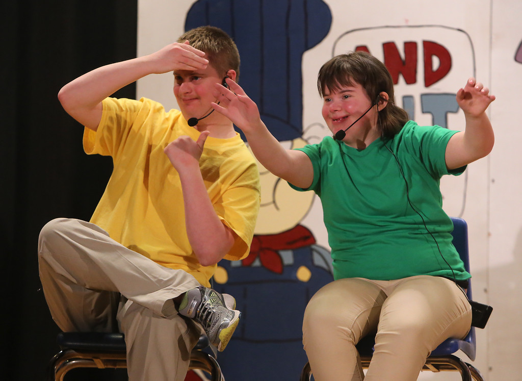 . Jack Saba of Chelmsford, and Mary Alice Jackson of Chelmford. Valley Collaborative Transitional High School students perform School House Rock Live! Jr. musical. (SUN/Julia Malakie)