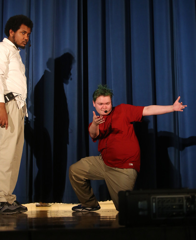 . Marcus Mengistab of Billerica, left, and and Joseph Distefano of Lynnfield, right. Valley Collaborative Transitional High School students perform School House Rock Live! Jr. musical. (SUN/Julia Malakie)