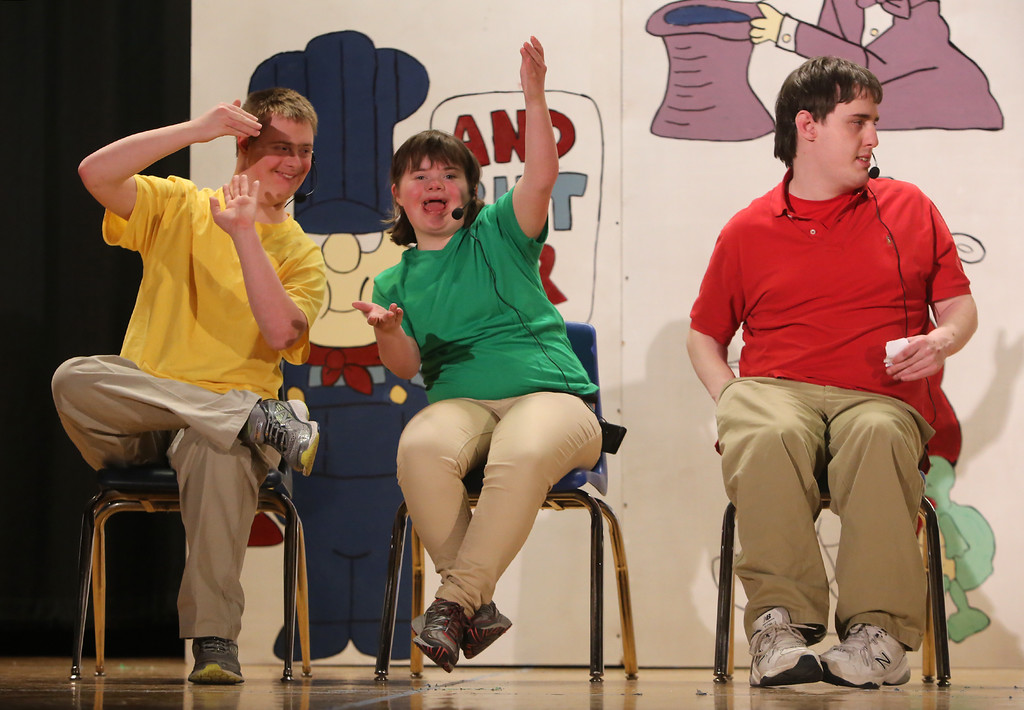 . From left, Jack Saba of Chelmsford, Mary Alice Jackson of Chelmford, and Lucas Costain of Wilmington. Valley Collaborative Transitional High School students perform School House Rock Live! Jr. musical. (SUN/Julia Malakie)