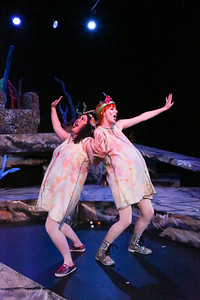 """Jan-the-Sly (Grace Langford) and Jan-the-Famished (Jennelle Gilreath) sing """"Little Sister,"""" in YEAST NATION, New Line Theatre, 2018. Photo credit: Jill Ritter Lindberg."""