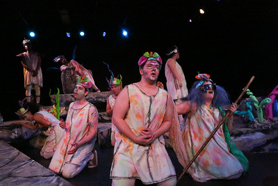 """The company sings """"Doom! Love! Doom!"""" in YEAST NATION, New Line Theatre, 2018. Photo credit: Jill Ritter Lindberg."""