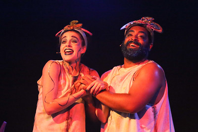 """Jan-the-Sweet (Larissa White) and Jan-the-Second-Oldest (Dominic Dowdy-Windsor) sing """"Let Us Rise,"""", in YEAST NATION, New Line Theatre, 2018. Photo credit: Jill Ritter Lindberg."""