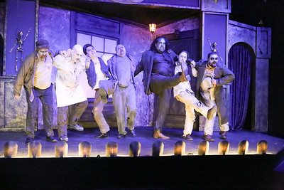 A zombie kick-line, in THE ZOMBIES OF PENZANCE, New Line Theatre, 2018. Photo credit: Jill Ritter Lindberg.