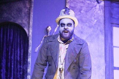 Dominic Dowdy-Windsor as the Zombie King,  in THE ZOMBIES OF PENZANCE, New Line Theatre, 2018. Photo credit: Jill Ritter Lindberg.