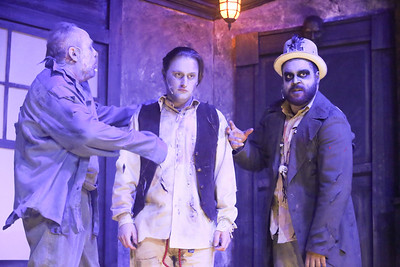 (l-r) Kent Coffel as Zombie Sam,  Sean Michael as Frederic, and Dominic Dowdy-Windsor as the Zombie King, in THE ZOMBIES OF PENZANCE, New Line Theatre, 2018. Photo credit: Jill Ritter Lindberg.