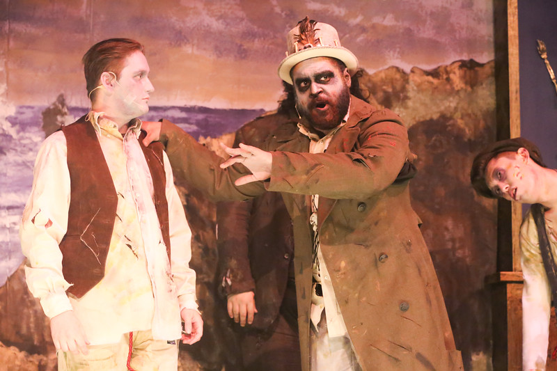 Sean Michael as Frederic and Dominic Dowdy-Windsor as the Zombie King, in THE ZOMBIES OF PENZANCE, New Line Theatre, 2018. Photo credit: Jill Ritter Lindberg.