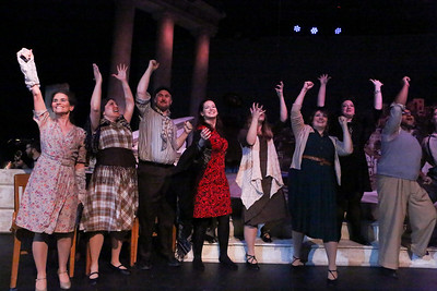 """The company at the end of the opening number, """"Life Is,"""" in ZORBA, New Line Theatre, 2017. Photo credit: Jill Ritter Lindberg."""