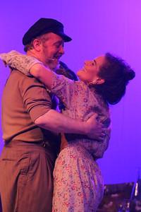 Zorba (Kent Coffel) meets Madame Hortense (Margeau Steinau), in ZORBA, New Line Theatre, 2017. Photo credit: Jill Ritter Lindberg.