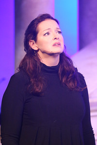 """Ann Hier as the Widow, sings """"That's a Beginning,"""" in ZORBA, New Line Theatre, 2017. Photo credit: Jill Ritter Lindberg."""