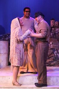 Zorba (Kent Coffel) agrees to marry Madame Hortense (Margeau Steinau) in ZORBA, New Line Theatre, 2017. Photo credit: Jill Ritter Lindberg.