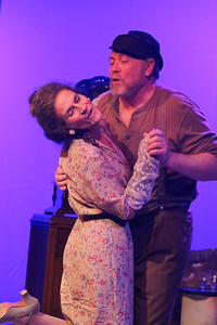 """Zorba (Kent Coffel) and Madame Hortense (Margeau Steinau) dance in """"Vive le DIfference,"""" in ZORBA, New Line Theatre, 2017. Photo credit: Jill Ritter Lindberg."""