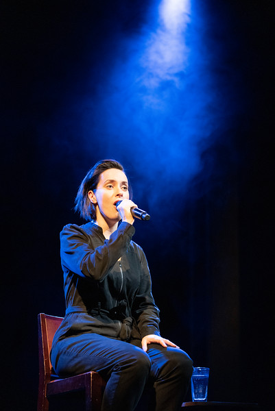 'all of it' Play by Alistair McDowall performed by by Kate O'Flynn at the Royal Court Theatre, London, UK